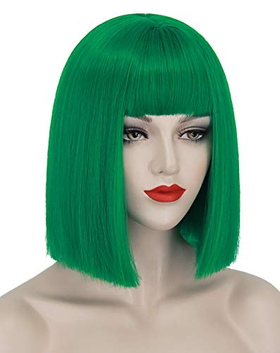Ruina Green Wigs for Women Short Green Bob Hair Wig with Bangs Natural Cute Synthetic Wigs for Party Cosplay St Patricks Day R021GR