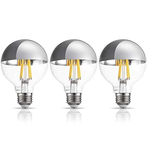 TORCHSTAR Half Chrome Dimmable Light Bulb, G25 LED Globe Filament Vintage Bulb, UL Listed, 7W(75W Eqv.), 3000K Warm White, E26 Base for Mirror, Pendant lamp, Vanity Strip, Pack of 3