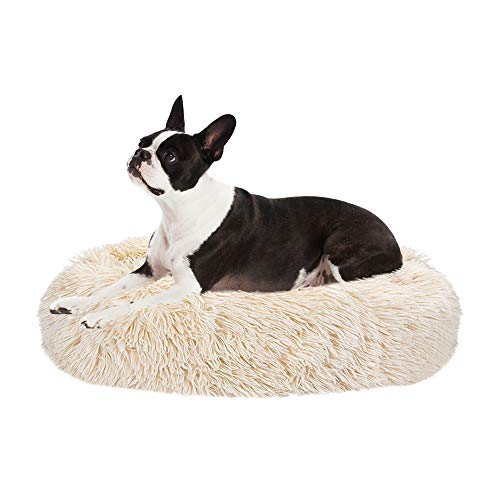 Nasjac Cama calmante para Mascotas, Nido de Mimbre para Donuts Cojín de Felpa Suave y cálido para Perros con Esponja acogedora Parte Inferior Antideslizante para Mascotas (M(60Cm), Caqui) 🔥