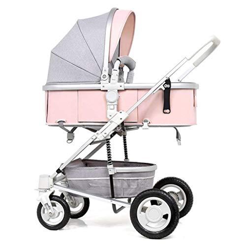 Cochecito de bebé ligero de alto paisaje, bebé recién nacido y cochecitos plegables para bebés 3 en 1, toldo multi-ajustable, asiento de seguridad, cuatro temporadas universales, 360 grados;Rueda de g