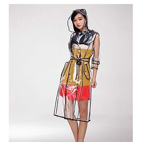 MULMF Waterdichte Transparante Plastic Transparante Lange Eva Dames Regenjassen Vrouwen Mannen Mode Regenjas Hooded Jassen Met Riem - Zwart Hem