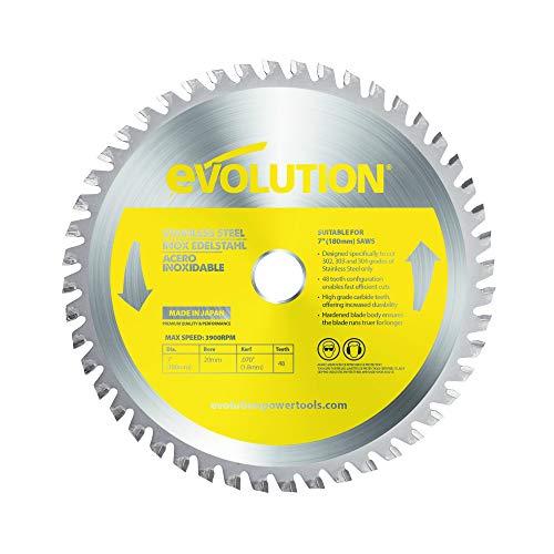 Evolution Power Tools Edelstahl Sägeblatt, EVOBLADESS, Rostfreier Edelstahl, 180mm