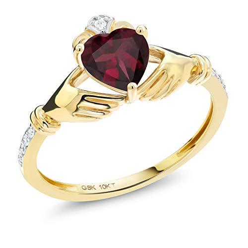 Gem Stone King 0.78 Ct Irish Celtic Claddagh Red Rhodolite Garnet Diamond Accent 10K Yellow Gold Ring (Size 9)