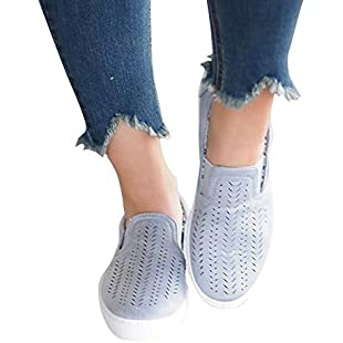 Blivener Women's Breathable Comfort Hollow Canvas Flat Loafer Shoes Blue UK 6
