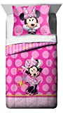 Jay Franco Minnie Mouse Bigger Bow Twin Comforter and Sham Set (Offical Disney Product)
