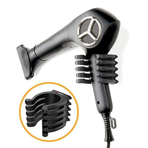 Kontactic Octopus - Soporte para secador de pelo, Negro