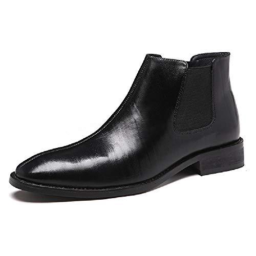 TAOBEGJ Hombres Botines Chelsea Zapatos Negocios Sin Cordones Cuero Botas Moto Martin Knight Punta Puntiaguda Vestido Fiesta Estilo Británico Bota De Boda,Black-42