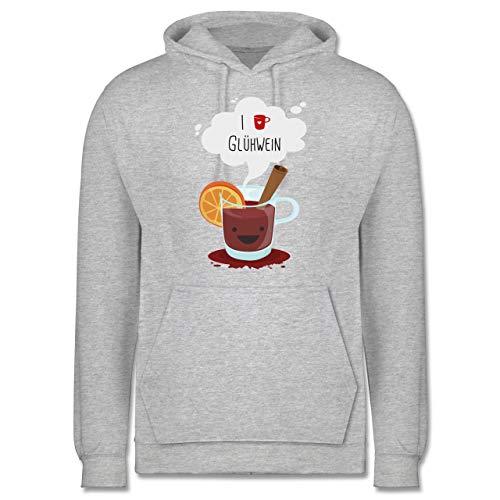 Weihnachten & Silvester - I Love Glühwein glückliche Tasse - 5XL - Grau meliert - Weihnachtsmarkt tassen - JH001 - Herren Hoodie und Kapuzenpullover für Männer