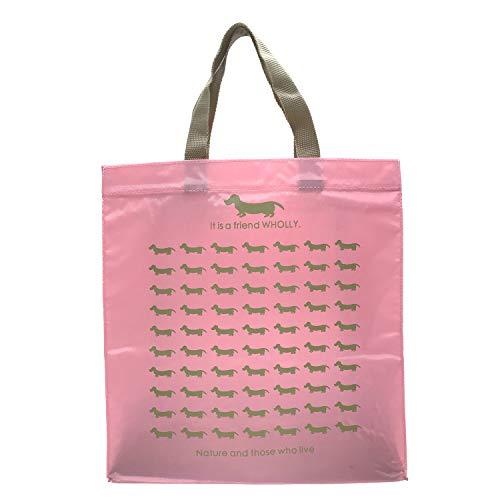優美社 エコバッグ 犬柄 ピンク 約縦36×横33×マチ12cm WHOLLY A4 サイズ も持ち運べる 買い物袋 3L13-01