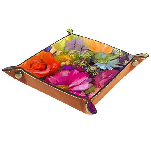 YATELI Caja de Almacenamiento pequeña, Bandeja de Valet para Hombre,Flores de Color Rojo Amarillo,Organizador de Cuero para Llaves de Caja de Monedas