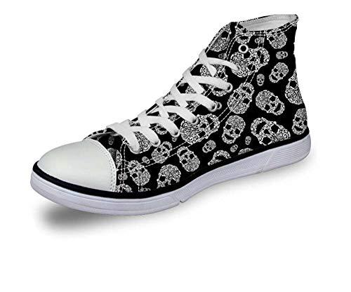 Halloween Skull Women Girls Hi Tops Canvas Flat Lace Up Plimsolls Trainers Shoes C0756AK stylish UK 6 = EU 39
