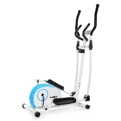 Klarfit ELLIFIT Basic 10 Cross trainer bicicleta elíptica (Monitor de entrenamiento, rueda de inercia, frenado magnético, Construcción robusta) blanco azul