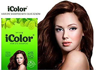 iColor Organic Hair Dye Shampoo Dark Brown 25ml (0.85 ounces) x 10 sachets in a box, shampoo-in hair color, dye, brown hair-in 5 minutes