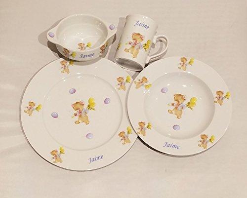 Vajilla Infantil Porcelana Personalizada con Nombre, 4 Piezas,Decorado Osos con Globos Porcelana de Calidad Nacimiento, Bautizo, cumpleaños.