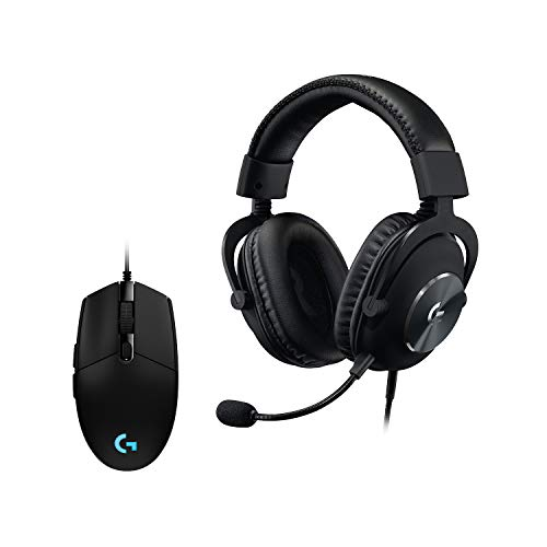 Logitech G PRO Gaming Maus, HERO 16000 DPI Sensor, USB-Anschluss, RGB-Beleuchtung + G PRO X (2. Generation) Gaming-Headset, schwarz