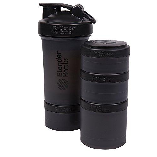 BlenderBottle ProStak 22 Oz Bottle with 6 Piece Twist n' Lock Storage Set, Black