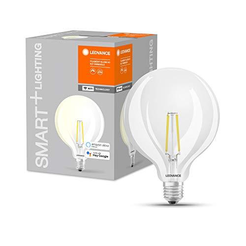 LEDVANCE Lampada LED intelligente con tecnologia WiFi, attacco E27, dimmerabile, bianco caldo (2700 K), sostituzione per 60W, SMART+ WiFi Globe Edison dimmerabile, confezione da 1