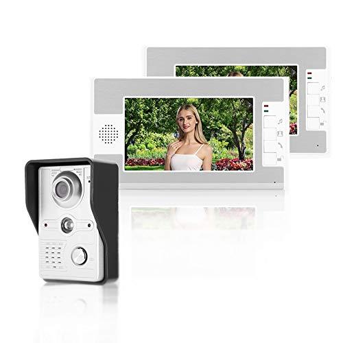 Videoportero, Kit de Timbre de Video, Intercomunicador de Video con Cable de 7 Pulgadas con 2 Monitores, Pantalla TFT, Sistema de Acceso de Seguridad con Visión Nocturna para el Hogar