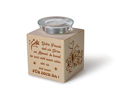 Teelichthalter aus Zirbenholz Wahre Freunde sind wie Sterne am Himmel.