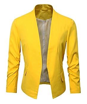 Women s Folding Sleeve Office Blazer  TG00000 Yellow M