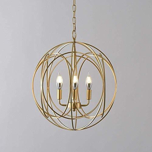 ZGGYA Interior moderno al aire libre Droplight oro elegante Esfera 3 luces...