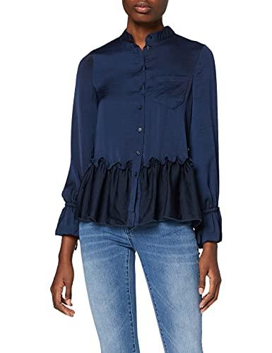 Amazon-Marke: find. Damen Langärmelige Rüschen-Bluse, Blau (Navy blazer), 36, Label: S