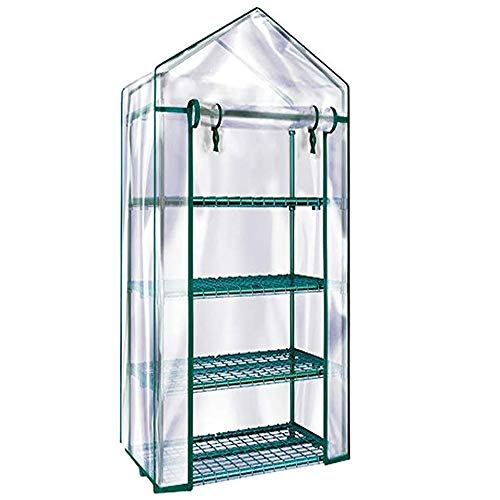 Homes Garden 4-Tier Shelves Mini Greenhouse, serre à jardin, Warm Tight Commercial PVC Indoor Outdoor Clear Greenhouse Plant Flower Grow Tent Zipper Roll Up Front 27 in. L x 19 in. W x 63 in. H #G-4404