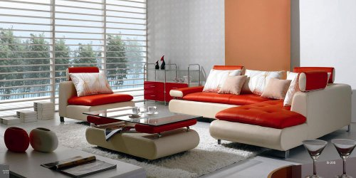VIG Furniture B 205 Modern Contemporary White and Red Leather Sectional Sofa Set