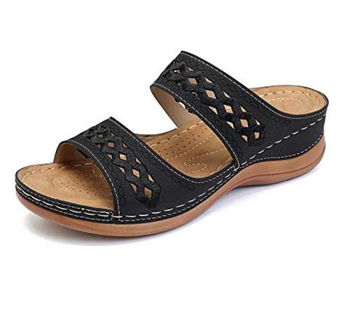 YYFF Zapatos Unisex Adulto,Arena de Lavado, Pantuflas de Fondo Grueso Muffin-Negro_43,para Hombre Chanclas Slider
