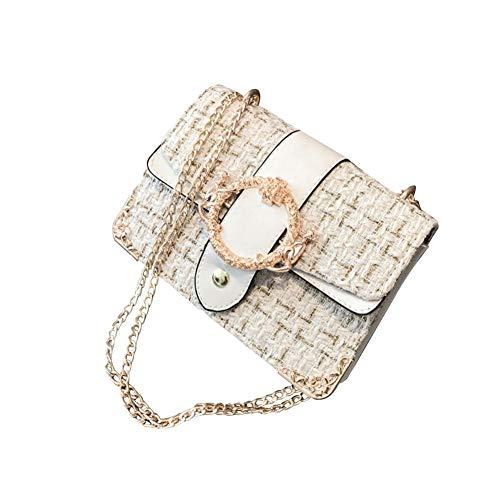 Damen Tasche Schultertasche Handtasche Crossbody Umhängetasche, Herbst und Winter Wolle Korean Fashion Crossbody Schulter Kette Metall runde Schnalle Handtasche