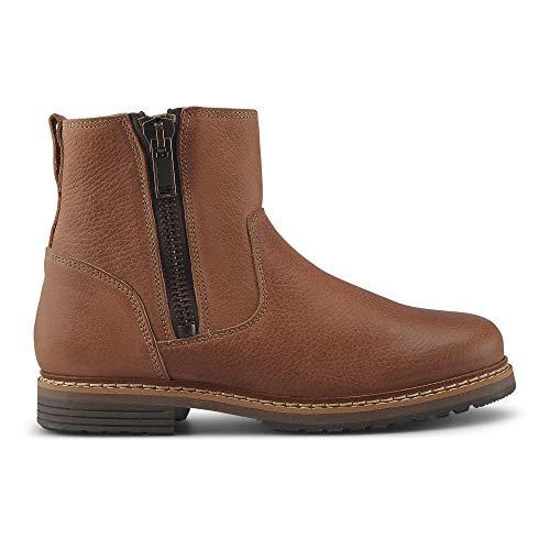 Cox Damen Winter-Boots aus Leder, lässiger Halbstiefel mit seitlichem Reißverschluss, Trend-Stiefel mit Rutschfester Laufsohle, in Braun Braun Strukturiertes Leder 38