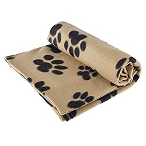 Pet Blanket Large for Dog Cat Animal 60″ x 40″ Inches Fleece Black Paw Print All Year Round Puppy Kitten Bed Warm Sleep Mat Fabric Indoors Outdoors (Tan Color) by RZA
