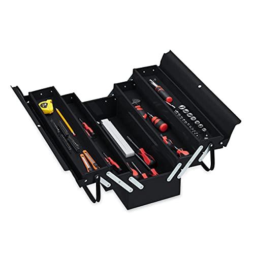 Relaxdays Werkzeugkoffer leer, 5 Fächer, mit Tragegriff, Metall, abschließbar, Werkzeugkasten, HBT 21x53x20 cm, schwarz