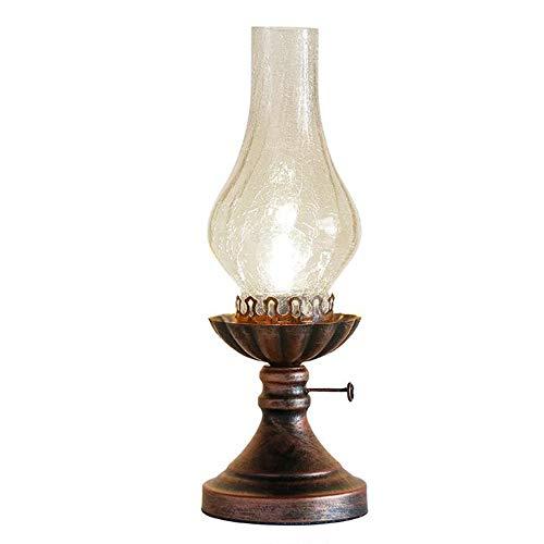 Retro Petroleumlampe Schlafzimmer Nachttischlampe Kreative Lampe Antike Lampe Vintage Klassische Studie dekorative Lampe Schlafzimmer transparentem Glas dekorative Tischleuchte Lampe E27,B