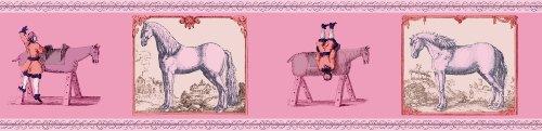 GMM Reiter Tapetenbordüre - edle Pferde Tapeten Borte mit Voltigier Übungen in rosa, 3x5m
