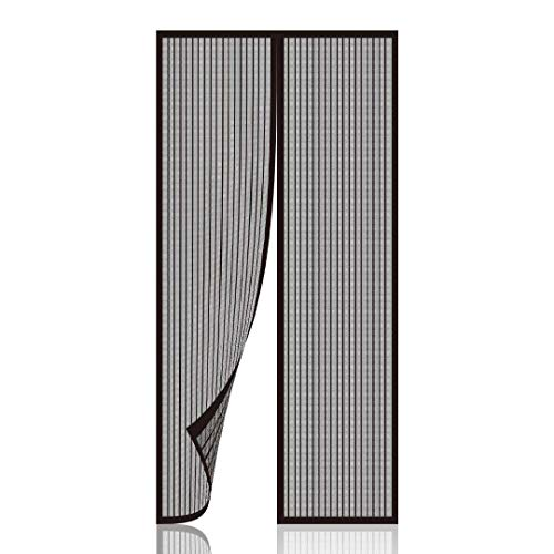 Newkiton Magnetic Screen Door, Heavy Duty, Full Frame Velcro & Tough Mesh, Screen Size 38 inch x 82 inch, Fits Doors Up to 36 inch x 81 inch (Black)