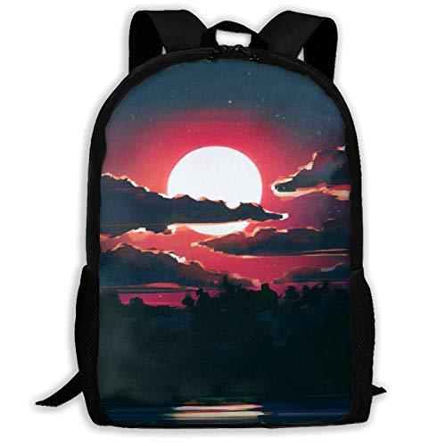 Lunar Night Mochila de viaje para portátil con capacidad ligera para papelería, para niñas, niños, escuela, mujeres, hombres, oficina