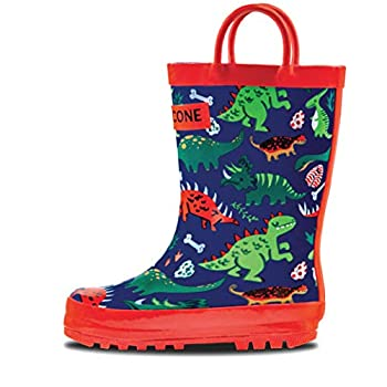 LONECONE Toddler Dinosaur Rain Boots with Easy-On Handles