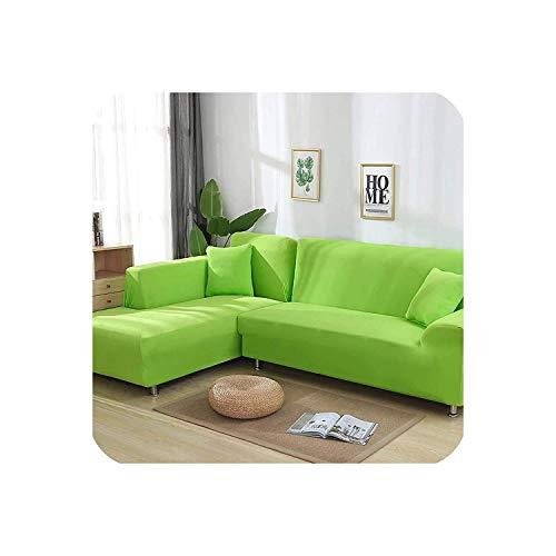 HCIUUI Funda de sofá elástica en Forma de L para salón, Chaise Longue, Funda de sofá seccional, Funda de sofá esquinera, 2 Piezas, Color Blanco, 1 Plaza y 4 plazas, Verde, 1seaterand2seater