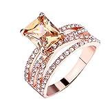 Rings for Women 3PC Simple Temperament Diamond Geometric Square Topaz Rose Gold Ring Jewelrya Good Gift for a Girlfriend, Boyfriend, Family