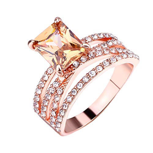 Allywit 3 Rings Women's Diamond Gemstone CZ Wedding Engagement Ring Bridal Jewelry Cocktail Party Bridal Engagement Engraving (6, Rose Gold) Photo #2