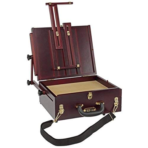 Soho Urban Artist Pochade Box Artist Easel - Plein Aire French Easel Fully Adjustable Infinite Range of Angles for Oil, Watercolor Painting & Pastels, Lightweight & Portable, Stained Lacquered Wood