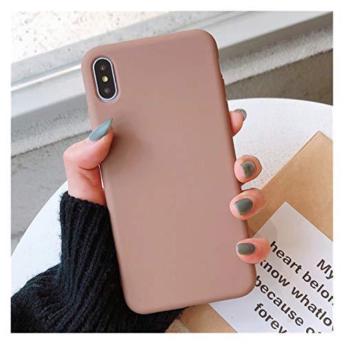 Glqwe Cajas de Parejas de Silicona de Color sólido para iPhone 12 Mini Pro MAX 6 7 8 11 S Plus X S XR Máx MAX CULTOS CULTOS CUERTO Soft Soft Simple Fase (Color : Brown, Material : For iPhone XR)