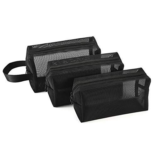 Wilxaw Kosmetiktaschen aus Mesh, 3 Stück Faltbar Leicht Make-up-Netzbeutel mit Reißverschluss, Nylon Mesh Beutel Aufbewahrungstasche, Rechteck