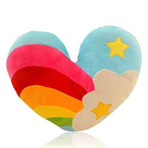 shengo Plüsch-Kissen in Herz-Form 38cm Herzkissen kuscheliges plüsch Dekokissen Herzform Geschenk-Kissen Paare Bunt (Pentagramm)