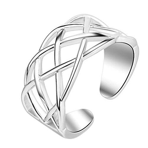 Demarkt Anillo de mujer ajustable sencillo de moda con cruz de apertura de plata