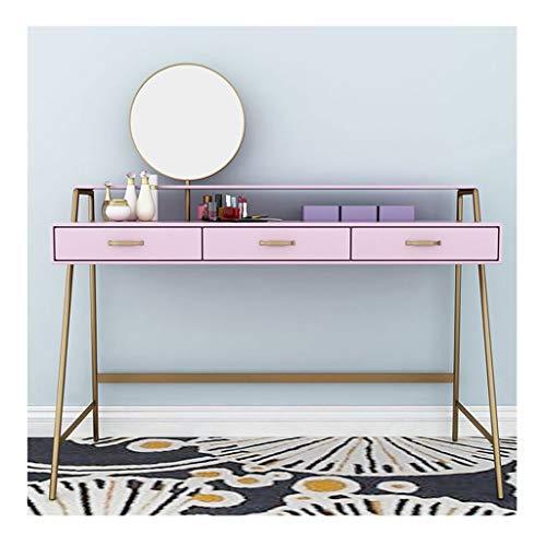 GUOQING Tocador Blanco Tocador Mesa,Maquillaje con Taburete Y Espejo Plegable, Mesa Brillante Roble Tocador (Color : Pink, Size : 100x45x75cm)