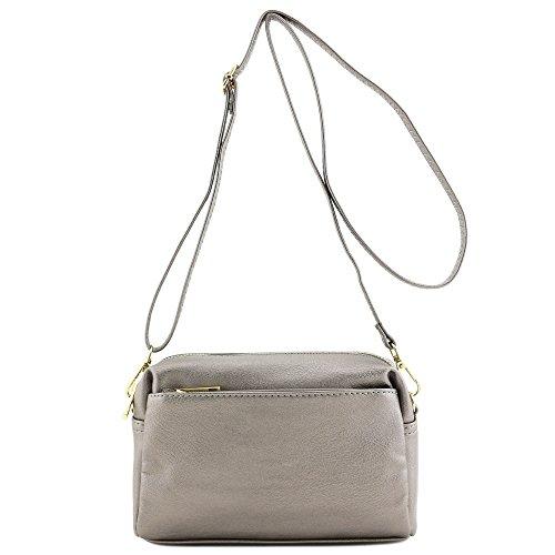 Triple Zip Small Crossbody Bag (Pewter)