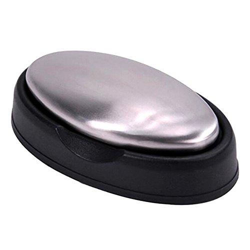 TRIXES Edelstahlseife zum Beseitigen von Gerüchen mit schwarzem Stand, geeignet für's Badezimmer oder Aber auch in der Küche und bei der Zubereitung von Speisen