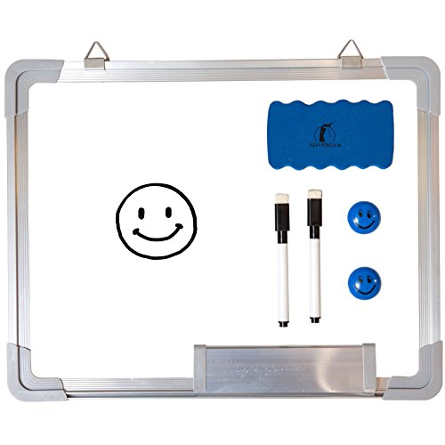 Whiteboard Set - Small Dry Erase Board 15 x 12' + 1 Magnetic Dry Eraser, 2 Dry Wipe Black Markers and 2 Magnets - Mini White Wall Hanging Message Scoreboard for Office Cubicle Desk (15x12' Landscape)